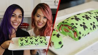 getlinkyoutube.com-Minecraft Creeper Roll Cake w/AnneOrShine - Quake n Bake