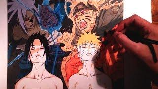 getlinkyoutube.com-Drawing Naruto vs Sasuke/Dibujo Naruto vs Sasuke (Color)