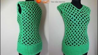 getlinkyoutube.com-How to crochet easy green mesh top tunic pattern tutorial