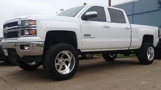 getlinkyoutube.com-LIfted 2014 Gmc Sierra Chevy Silverado Mcgaughys LIft Kit American Force Wheels