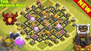Clash of Clans | TH8 BEST Hybrid base, Trophy, Farming Base | town hall 8 base