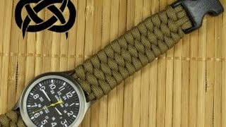 getlinkyoutube.com-Beginner Paracord: Single Strand Trilobite Buckle Watchband (Paracord 101)