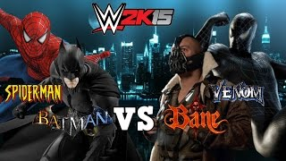 getlinkyoutube.com-Batman & Spiderman VS Bane & Venom | WWE 2K15