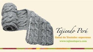 getlinkyoutube.com-Bufanda con trenzas reversibles para caballero tejida en dos agujas o palitos
