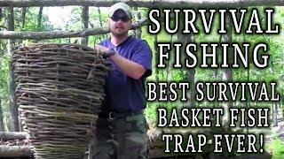 getlinkyoutube.com-Survival Fishing - Most epic survival basket fish trap ever!