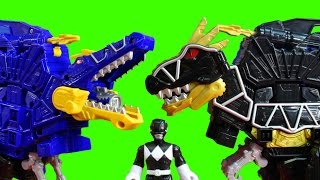 getlinkyoutube.com-Power Rangers Dino Super Charge Deluxe Black T-Rex Zord Practice Battles Against Spino Zord