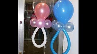 getlinkyoutube.com-Baby Shower (diferentes Chupones o chupetes) Curso de decoración con globos