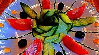 getlinkyoutube.com-HOW TO MAKE CUCUMBER ROSE - CUCUMBER CARVING & CUCUMBER ART. VEGETABLE CARVING