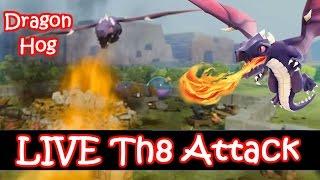 getlinkyoutube.com-LIVE Dragon Hog Rider Attack Strategy Th8 - Clash Of Clans
