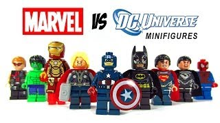 getlinkyoutube.com-LEGO Marvel vs DC Superheroes KnockOff Minfigures Set 3 w/ Superman Spiderman & Batman