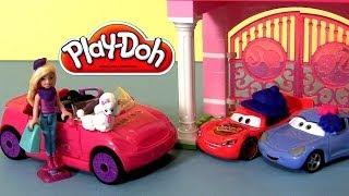 getlinkyoutube.com-PLAY DOH Barbie Car Build Style Playset Play Doh Cars Sally Lightning McQueen Disney Play-Doh