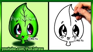 getlinkyoutube.com-How to Draw Cute Easy - Leaf Earth Day - Fun2draw