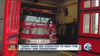 getlinkyoutube.com-Tigers make big donation to help the Detroit Fire Department
