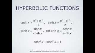 Differentiation of Hyperbolic Functions