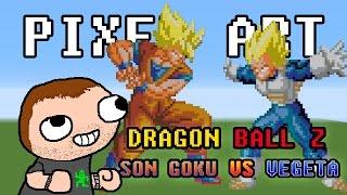 getlinkyoutube.com-Minecraft - Pixel Art - Dragon Ball Z - Son Goku VS Vegeta