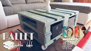 getlinkyoutube.com-DIY - vintage style pallet coffee table