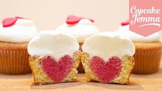 getlinkyoutube.com-How to Bake a Heart Inside a Cupcake | Cupcake Jemma