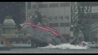 getlinkyoutube.com-海自 最新潜水艦 せきりゅう 進水式 SS508 Japanese submarine Launch