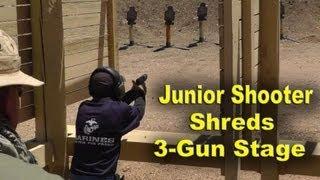 getlinkyoutube.com-12 Year old Kid Shoots Glock 9mm, Shotgun and AR15 in a Shooting Match