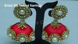 getlinkyoutube.com-How to make Designer Bridal Silk Thread Earrings/Jhumkas at Home| Tutorial