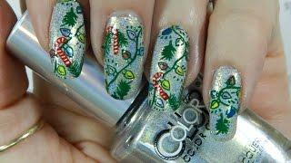 getlinkyoutube.com-Nail Art Design Stamped Christmas Lights & Candy Canes