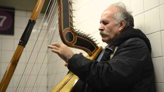Sound of Silence on the Harp in NYC subway