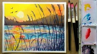 getlinkyoutube.com-Golden Sunset Beginner Watercolor 3 Color REAL TIME Tutorial