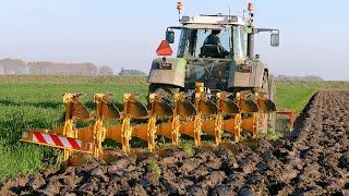 getlinkyoutube.com-Ploughing using a 9 furrow Rumptstad ECO Plough | FENDT 824 Turbomatik | ploegen / Pflügen