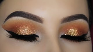 getlinkyoutube.com-Warm Orange Glitter Eye Makeup Tutorial