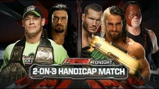 getlinkyoutube.com-Roman Reigns & John Cena vs Seth Rollins, Randy Orton & Kane 2 on 3 Handicap Match   Raw Latino ᴴᴰ