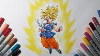 getlinkyoutube.com-Drawing Kid Goku Super Saiyan - Dragon ball GT