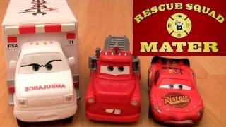 getlinkyoutube.com-Rescue Squad Mater Track Playset CARS TOON Mater's tall tales Ambulance Review by Blucollection