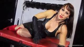 getlinkyoutube.com-Mistress Miranda in leather corset, gloves and red leather over the knee boots