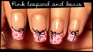 getlinkyoutube.com-Pink Leopard & Bows nail art
