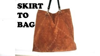 getlinkyoutube.com-how to make a leather tote bag from a skirt / DIY Bag Vol 6