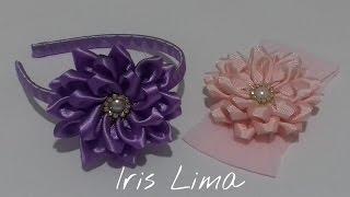 getlinkyoutube.com-Como fazer flor de fita de cetim Diy ,Tutorial ,Pap By Iris Lima