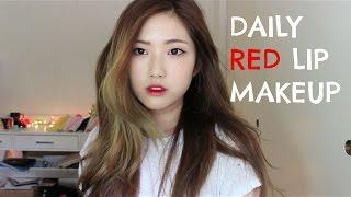 getlinkyoutube.com-Daily Red Lip Makeup   데일리 레드립 메이크업 (속쌍꺼풀)