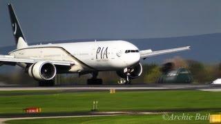 getlinkyoutube.com-Pakistan International Airlines (PIA) 777-300ER Land at Manchester Airport | MAN/EGCC
