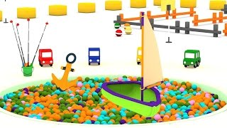 getlinkyoutube.com-Cartoni animati per bambini: macchinine colorate e la barca a vela
