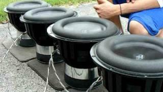 getlinkyoutube.com-Powersupply - Bass Boom Bottom  on 4 Elemental Designs 13av.2's Free Air Woofer Excursion