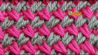 getlinkyoutube.com-Cómo Tejer Punto Cruzado en Colores-Cross Stitch 2 Agujas (275)
