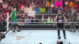 getlinkyoutube.com-WWE Monday Night RAW 2012.04.09 : Brock Lesnar and John Cena Brawl [ HD ]