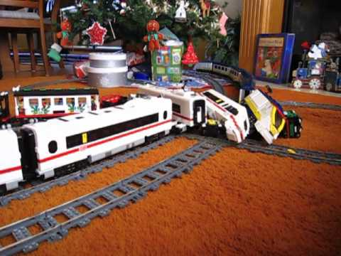 Lego Train Crash High Speed Eurostar And Ice 3 On 9v Double