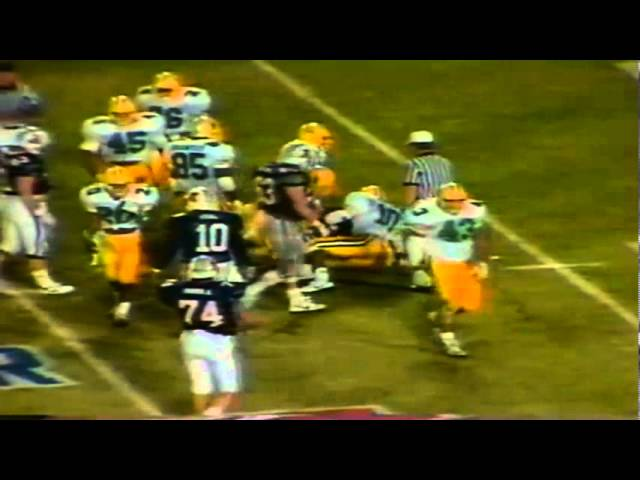 Oregon safety Derek Horton tackles AZ Rb Art Greathouse for big loss 11-12-88