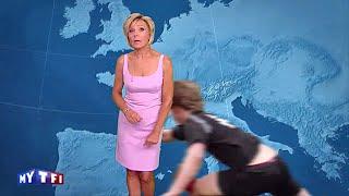 getlinkyoutube.com-Evelyne Dheliat plaquée pendant sa météo sur TF1 !