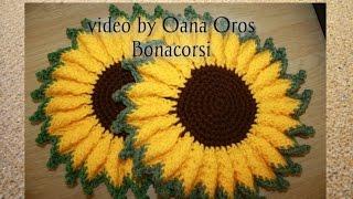 getlinkyoutube.com-crochet sunflower hot pad