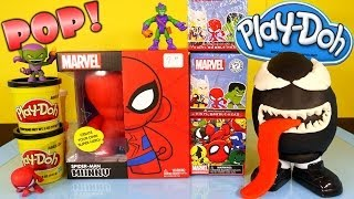 getlinkyoutube.com-Play Doh Venom Surprise Egg Kidrobot Giant Spiderman Superhero Toy Marvel Mystery Mini Toys