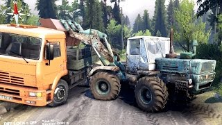 getlinkyoutube.com-SPINTIRES 2014 - The Coast Map - T150K Tractor Loading Rocks in the Kamaz Truck