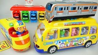 getlinkyoutube.com-Pororo Tayo Subway 뽀로로 타요 메트 지하철 장난감 Tayo the little bus Metro & Pororo Bus toys