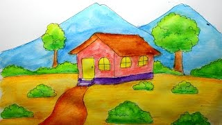 getlinkyoutube.com-cara menggambar rumah dan gunung untuk anak SD versi lambat